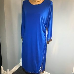 XL blue with gold accents long sleeveless dress